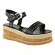 Womens Buckle Pu Summer High Wedge Espadrilles Sandals