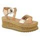 Womens Buckle Pu Summer High Wedge Espadrilles Sandals