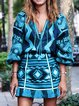 Vintage Women Geometric Print Long Sleeve Midi Dresses
