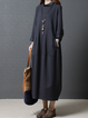 Stand Collar  Cocoon Women Daily Casual Long Sleeve Pockets Solid Casual Dress
