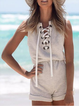 Summer Sleeveless Lace Up Solid Rompers