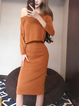 Off Shoulder Elegant Long Sleeve Solid Suit Set