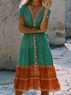 V Neck Women Summer Dresses Daytime Patchwork Dresses