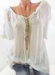 Women Lace Crochet Short Sleeve Pure Color Shirts