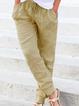 Beige Casual Pockets Drawstring All Season Natural Solid Pants