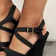 Women's Fashion Plus Size Adjustable Buckle Wedges Peep Toe Cross Sandals