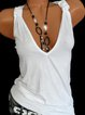 Solid Sleeveless V Neck Tanks