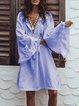 Long Sleeve Shift Casual Patchwork Tassel Hollowed Dress