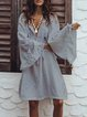 Long Sleeve Shift Casual Patchwork Tassel Hollowed Dress