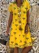 V Neck Women Summer Dresses Floral-Print Dresses