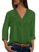 Chiffon Solid Paneled Shawl Collar Plus Size Blouse