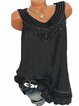 Plus Size Lace Cutouts Sleeveless Crew Neck Casual Camis