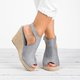 Women Wedge Espadrille Suede Peep Toe Ankle Strap Slingback Sandals