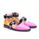 2019 Fashion Trends Low Heel Pink Color block Buckle Flats