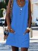 Crew Neck Women Summer Dresses Buttoned Dresses