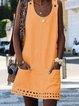 Cotton-Blend Crew Neck Casual Dresses