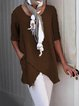 Pockets Half Sleeve Asymmetrical Casual Blouses