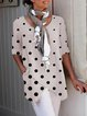 Half Sleeve Dot-Intarsia Linen Shirts & Tops