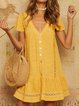 Buttoned Laser Cut V Neck Summer Shift Date Cotton-Blend Solid Dresses