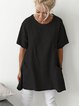 Short Sleeve Crew Neck Pockets Shirts Daily Plus Size Tops