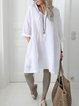 Round Neck Casual Linen Solid Shirts & Tops