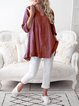 Casual Long Sleeve Flounce Patchwork Blouses
