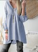 Large Size Casual Long Sleeve Solid Linen Blouse