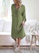Plus Size Crew Neck Women Solid Linen Midi Dresses