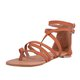 Women Leather Sandals Casual Zipper Adjustable Buckle Shoes