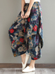 Multicolor Vintage Style Floral Cocoon Printed Pants