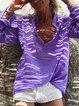 Purple Shirt Collar Casual Shirts & Tops