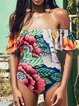 Bandeau Wireless Floral Ruched Ruffles Off Shoulder One-piece