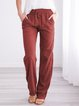 Pockets Lace-Up Solid Cotton-Blend Casual Pants