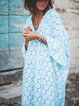 Beach Casual 3/4 Sleeve Solid V Neck Bell Sleeve Maxi Lace Hollow Dress