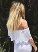 Off Shoulder Women White Beach Plain Holiday Dresses