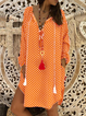 Women V Neck Tassel Polka Dots Summer Dresses Casual Dresses