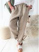 Cotton-Blend Solid Pants