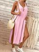 Dress - Round Collar Plain Loose Soft Vacation Dress