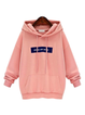 Pink Pockets Long Sleeve Letter  Hoodie