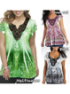Plus Size Casual Floral Print Short Sleeve Blouses Tops