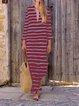 Summer Striped V Neck Side Slit Vintage Dresses