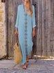Summer Tribal Print V Neck Slit Shift Vintage Dresses