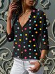 Spring/Fall Polka Dots Shirt Collar Long Sleeve Sweet Shirts