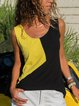 Color-block Patchwork Plus Size Casual Camis