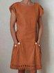 Cotton-Blend Crew Neck Women Summer Dresses Casual Dresses