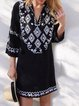 Black Geometric Boho V Neck Floral-Print Dresses