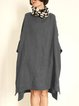 Casual Linen Round Neck 3/4 Sleeve Bat Sleeve Dress With Pockets
