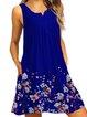 Crew Neck Women Dresses A-Line Daily Beach Floral Dresses