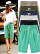 Women's Plus Size Elastic Waist Casual Shorts Cotton Fifth Knee-Length Pants