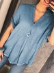 Cotton-Blend Short Sleeve Blouses